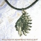 USA CAST PEWTER NATIVE AMERICAN INDIAN CHIEF IN FULL HEADRESS PENDANT NECKLACE