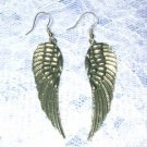 LARGE DETAILED FEATHERED CELTIC ANGEL WING PEWTER PENDANT SIZE EARRINGS WINGS