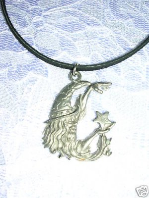 VINTAGE CAST PEWTER OLD FANTASY WIZARD & STAR SPELL CASTING PENDANT ADJ NECKLACE