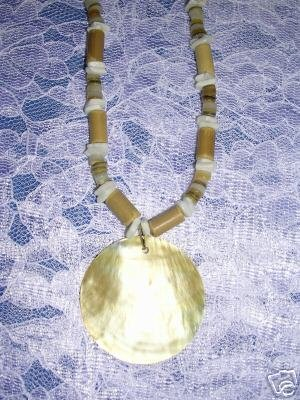 SURFER GIRL TUBE & DISC SHELL BEADS w ROUND SHELL PENDANT NECKLACE