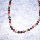 "NEW TAN BROWN RED COLOR COCO BEADS 17"" NECKLACE BEADS"