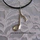 "SALE SHINY SILVER TONE MUSIC NOTE PENDANT 18"" NECKLACE"