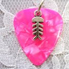 HOT PINK GUITAR PICK SURF IS UP FISH BONE PENDANT NECKLACE