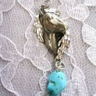 ENGRAVED HORSE HEAD PEWTER PENDANT with BLUE TURQUOISE GEM NUGGET NECKLACE PONY