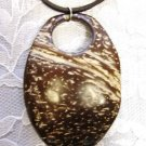 "LARGE SHAPED OVAL EXOTIC REAL COCONUT WOOD PENDANT 22"" BROWN SUEDE NECKLACE"
