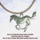 MATTE FINISH WILD MUSTANG HORSE SILVER PEWTER NECKLACE