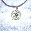 SUN STAR BURST w PURPLE GEM PEWTER PENDANT NECKLACE