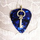 DK BLUE GUITAR PICK w COOL KEY CHARM PENDANT NECKLACE