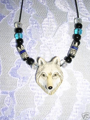 HAND PAINTED CERAMIC WOLF HEAD PENDANT w ACCENT BEADS ADJ NECKLACE