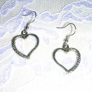 HEARTS - PRETTY HEART WITH SCROLL DETAILS ON ONE HALF DROP EARRINGS JEWELRY