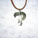 "TRIBAL STYLE KOKOPELLI FLUTE PLAYER SILVER PEWTER PENDANT 20"" NECKLACE"