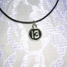 """LUCKY NUMBER 13 BLACK INLAY PEWTER NECKLACE 18"""" LEATHER CORD"""
