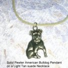 USA CAST PEWTER AMERICAN BULL DOG PENDANT ADJ STRING CORD NECKLACE