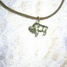 FULL BODY TATANKA BUFFALO PROFILE PEWTER PENDANT ADJ STRING CORD NECKLACE