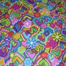 WAY COOL LOVE - PEACE SIGN - HEART COLORFUL with SILVER THREADS PRINT BANDANA SCARF