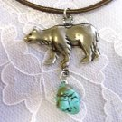 WILDLIFE WALKING BEAR PROFILE w TUQUOISE NUGGET PEWTER PENDANT NECKLACE