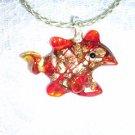 RED TROPICAL AQUARIUM REEF FISH GLASS PENDANT NECKLACE