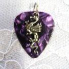 NEW DEEP PURPLE GUITAR PICK w CLASSIC FANTASY DRAGON PEWTER CHARM PENDANT NECKLACE