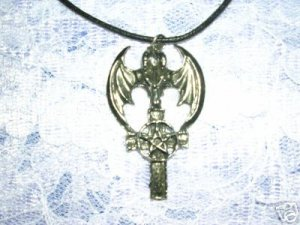BOLD FANTASY DRAGON HEAD ON A CROSS PENTACLE DOUBLE PENDANT ADJ NECKLACE