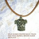 WILD MACK TRUCK BULL DOG HEAD AMERICAN CAST PEWTER ADJ CORD PENDANT NECKLACE