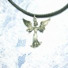 NEW PRETTY WINGED GUARDIAN ANGEL PEWTER PENDANT ADJ NECKLACE