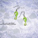 NEW FUN LIME GREEN COLOR ENAMEL SEA HORSE CHARM EARRINGS DEEP SEA JEWELRY