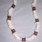 "REAL WHITE PUKA SHELL PIECE BEADS & WOOD COCO BEADS 18"" SURFER NECKLACE"