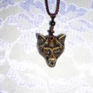 NEW RESIN BROWN WOLF KING HEAD PENDANT ADJ NECKLACE