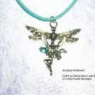 WILD NATURE DRAGONFLY & PIXIE FAIRY w TURQUOISE BLUE GEM PENDANT SUEDE NECKLACE