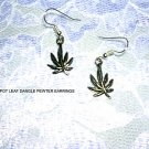 NEW HAND CAST PEWTER POT LEAF WEED SMOKING DANGLING CHARM EARRINGS METAL JEWELRY