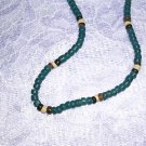 "DEEP BLUE BROWN OFF WHITE COCO BEADS 16"" SURF NECKLACE"