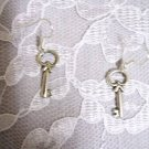 UNIQUE LOCK KEY / KEYS DANGLING SILVER ALLOY CHARM EARRINGS