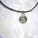NUMBER 69 BLACK INLAY PEWTER PENDANT NECKLACE ADJ CORD NECKLACE