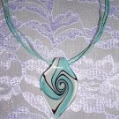 BABY BLUE w WHITE & BLACK SPIRAL GLASS PENDANT NECKLACE