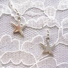 FUN STARFISH / STAR FISH DANGLING CHARMS SILVER ALLOY METAL PIERCED EARRINGS