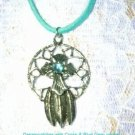 NEW CROSS DREAMCATCHER WITH BABY BLUE CRYSTAL GEM PEWTER PENDANT NECKLACE