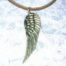 CELTIC FEATHER ANGEL WING SILVER PEWTER PENDANT ADJ NECKLACE