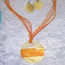 HOT ORANGE & PEACH SHELL NECKLACE EARRINGS JEWELRY SET