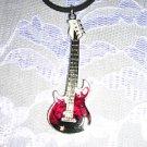 ROCKER HEAVY METAL ELECTRIC GUITAR RED & BLACK PENDANT ADJ STRING CORD NECKLACE