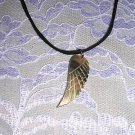 FEATHER TERCEL ANGEL WING ENGRAVED REAL SHELL PENDANT ADJ ANGELIC NECKLACE
