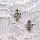 NEW SCROLL DESIGN DECO CROSS DANGLING CHARMS SILVER ALLOY EARRINGS JEWELRY