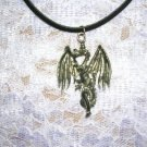 WICKED FANTASY DRAGON CAST PEWTER PENDANT ADJ CORD NECKLACE
