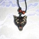 TEA STAINED FACE ON - WOLF HEAD RESIN PENDANT ADJ NECKLACE