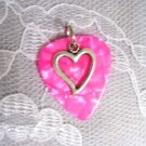 HOT PINK GUITAR PICK SWEET HEART CHARM PENDANT NECKLACE
