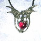 DRAGON w BLOOD RED GLASS BALL PEWTER PENDANT NECKLACE