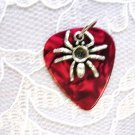 WILD BLOOD RED GUITAR PICK w SPIDER PENDANT NECKLACE