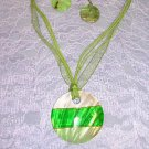 GRASS GREEN &  LIGHT GREEN ROUND SHELL NECKLACE EARRINGS JEWELRY SET