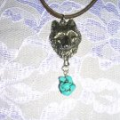 WILDLIFE APEX WOLF HEAD FACE w TURQUOISE NUGGET ADJ CORD NECKLACE WOLVES
