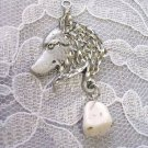 ENGRAVED WOLF HEAD PROFILE w WHITE TURQUOISE NECKLACE