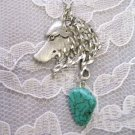 HAND ENGRAVED WOLF HEAD PROFILE w SPIDER TURQUOISE NUGGET NECKLACE WOLVES